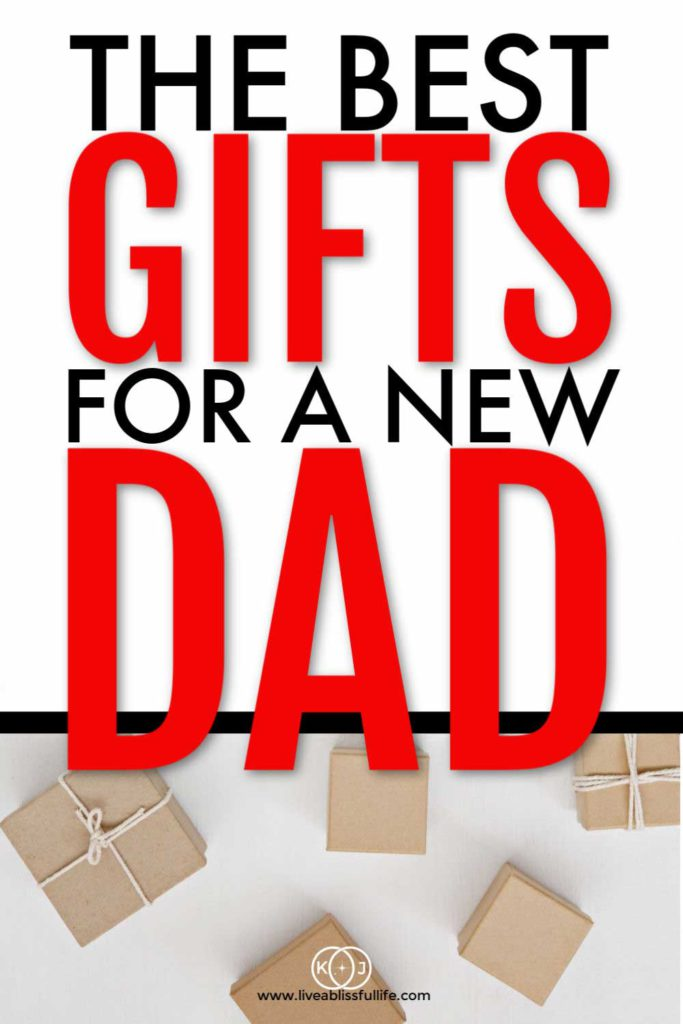 "Gift boxes wrapped in brown paper with the words ""The Best Gifts For A New Dad"""