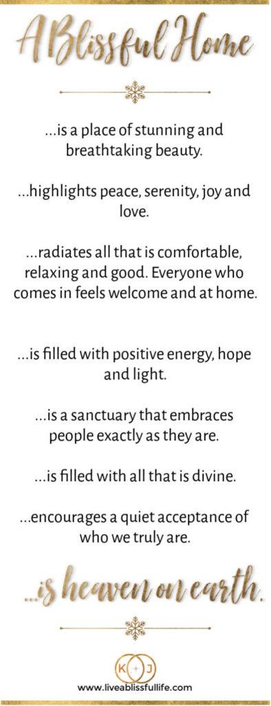 an infographic describing a blissful home