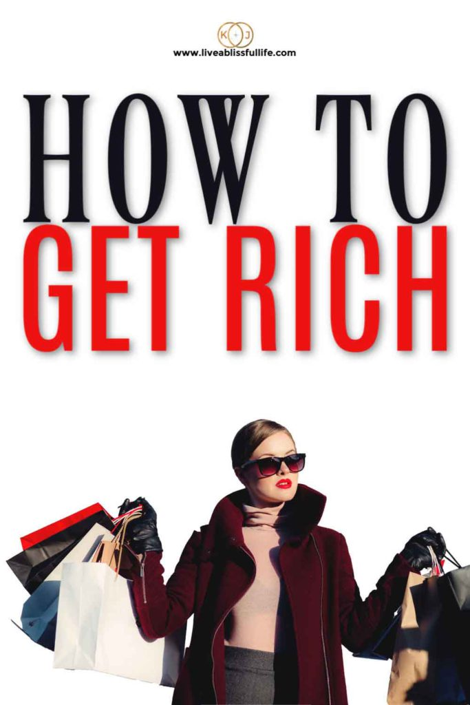 """Rich elegant woman carrying a lot of shopping bags with the words """"How To Get Rich"""""""