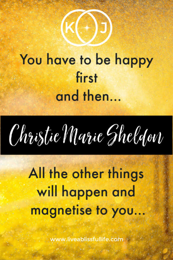 "a bright yellow background with the words ""you have to be happy first and then all the other things will happen and magnetise to you