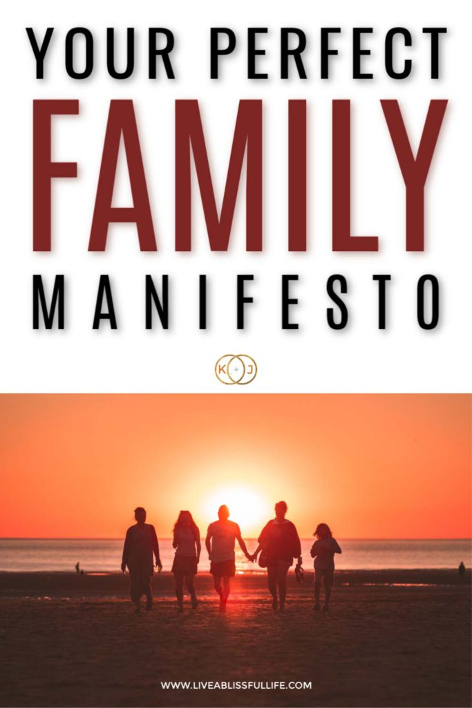 background: silhouette of family during sunset  foreground: your perfect family manifesto