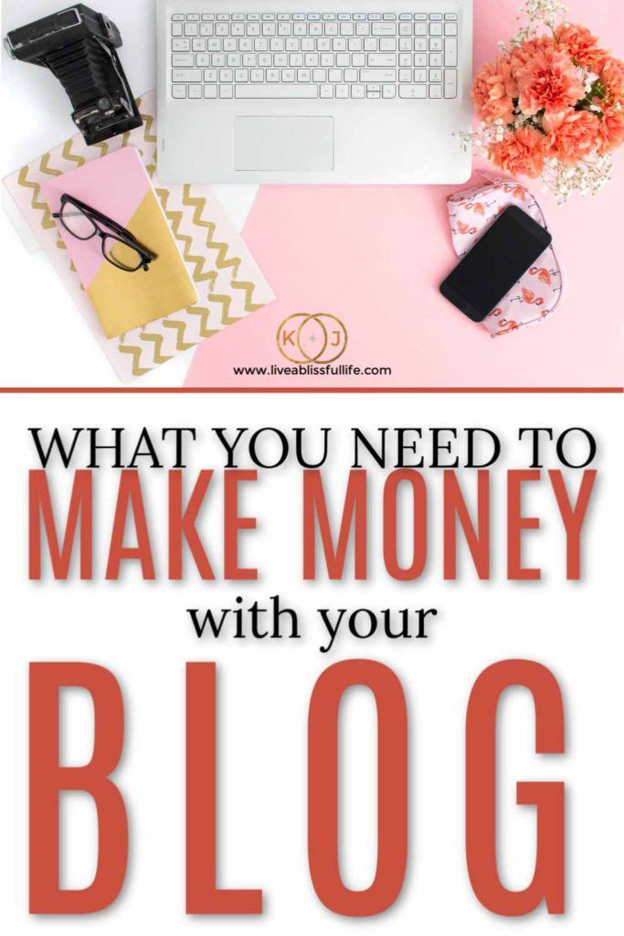 foreground: what you need to make money with your blog background: flatlay photo of laptop, vintage camera and flowers on pink and white background