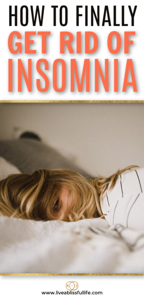 text: how to finally get rid of insomnia image: tired woman lying facedown on the bed