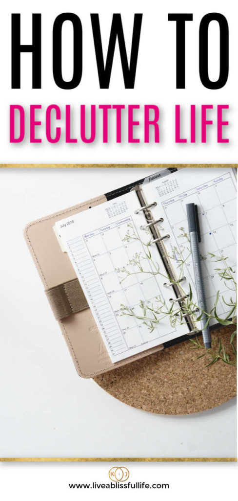 text: how to declutter life image: journal with black pen and a plant