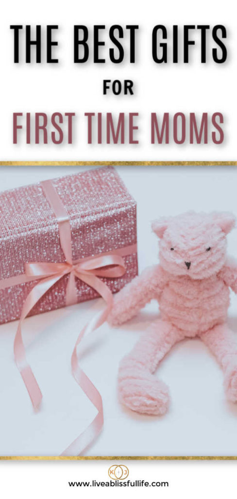text: the best gifts for first time moms image: gift wrapped in glittery pink paper beside a pink teddy bear