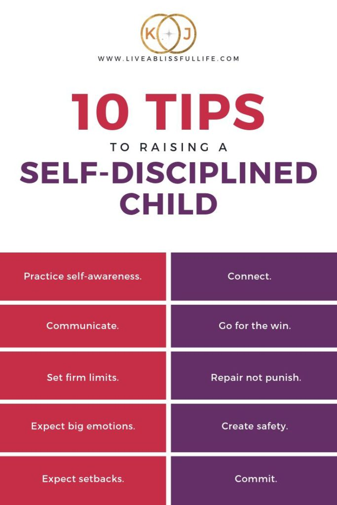 infographic containing 10 tips to raising a self-disciplined child