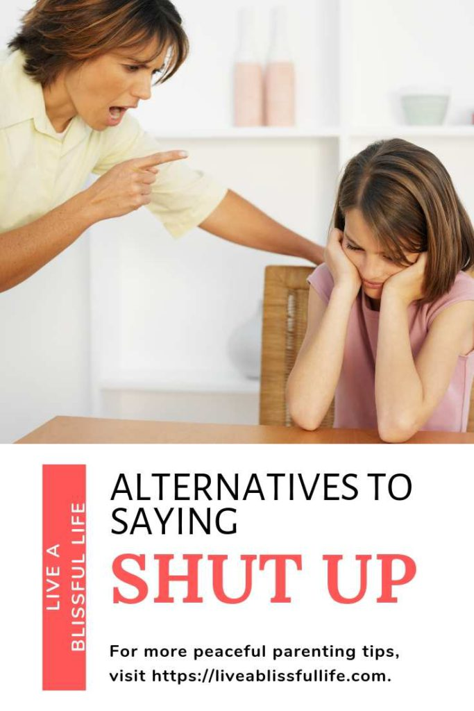 text: alternatives to saying shut up image: woman scolding a young girl