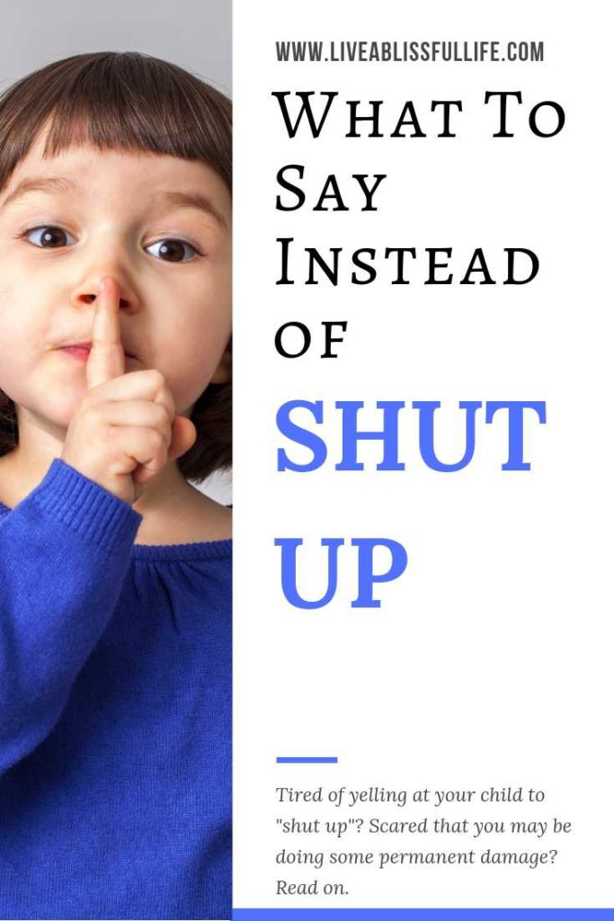 text: what to say instead of shut up image: young girl in purple jacket in classic shushing pose