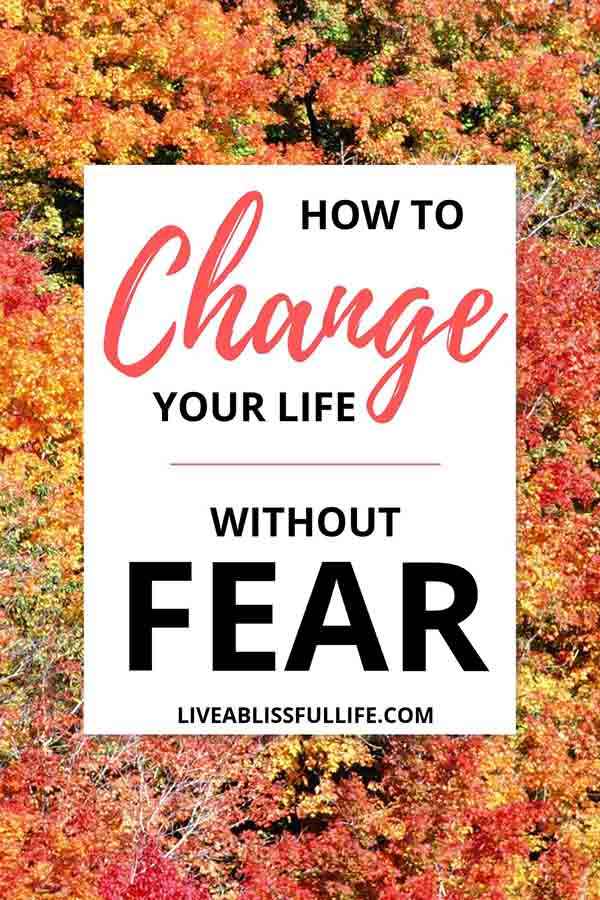 image: trees in autumn foliage text: how to change your life without fear