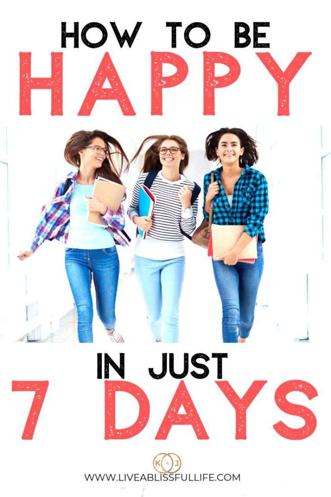 text: how to be happy in just 7 days image: 3 happy female students