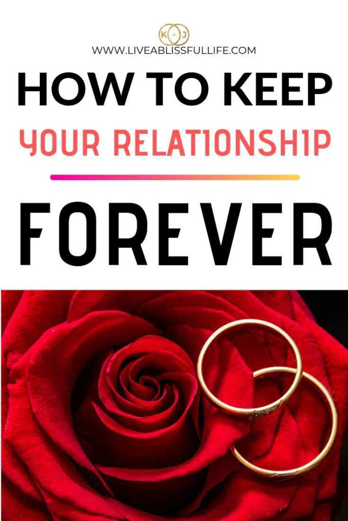 image: two wedding bands on a red rose text: how to keep your relationship forever