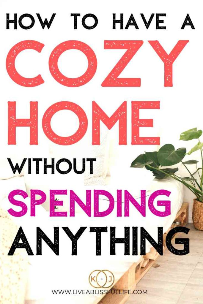 image: cozy sitting room with a plant text: how to have a cozy home without spending anything