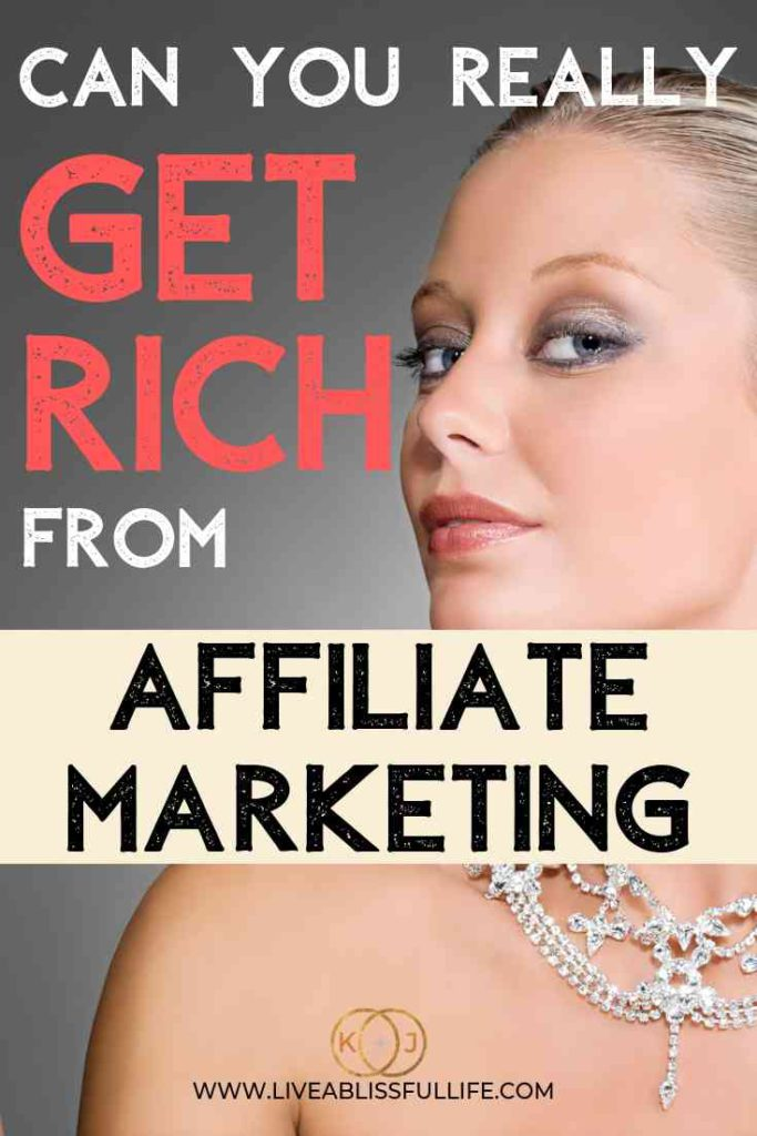 text: can you really get rich from affiliate marketing image: woman in a diamond necklace