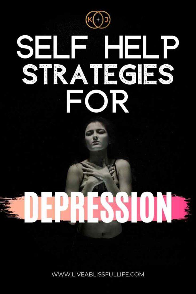 text: self-help-strategies-for-depression image: depressed woman against a black background