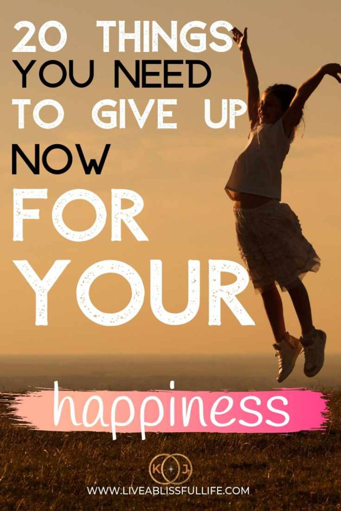 text: 20 things you need to give up now for your happiness image: young girl jumping for joy