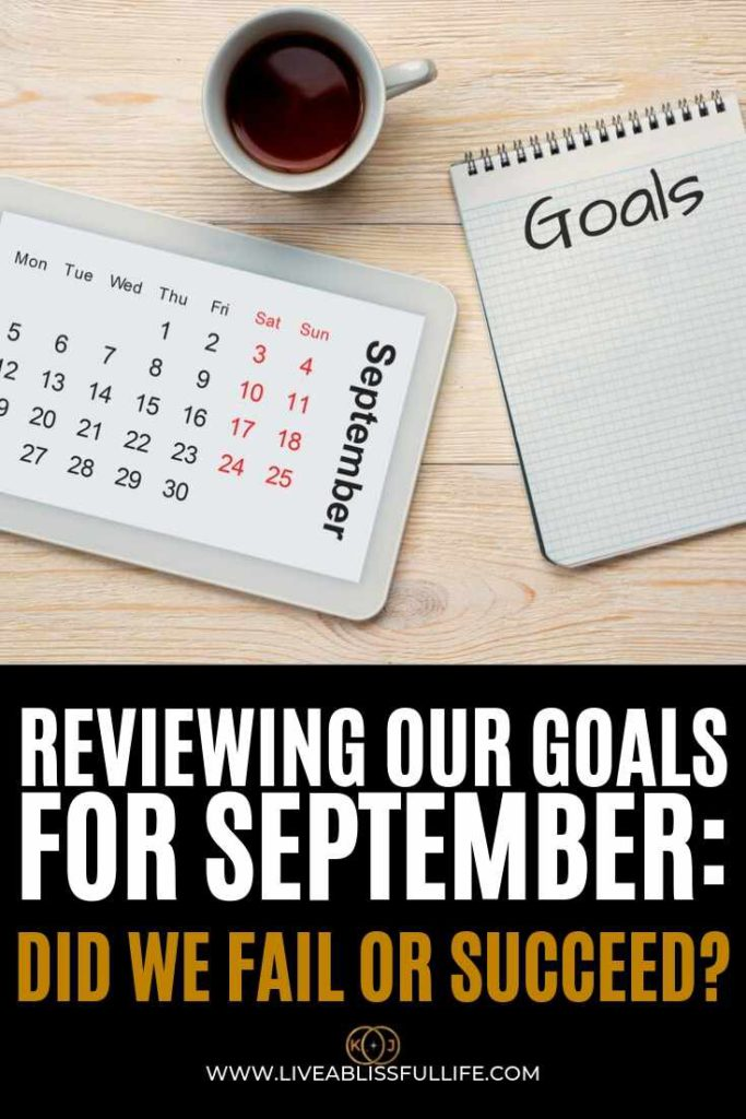 Text: Reviewing Our Goal For September: Did we fail or succeed Image: September calendar with coffee and a notebook (with goal written on it)