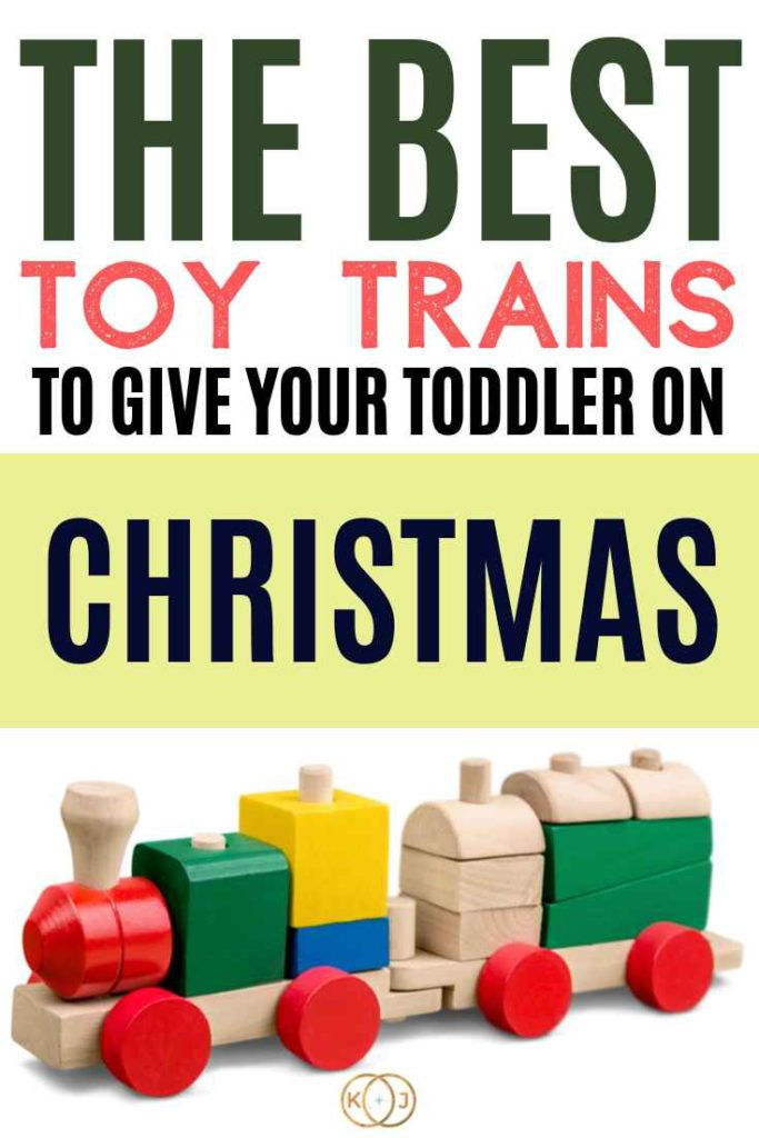 Image: Wooden Train Text: The Best Toy Trains To Give Your Toddler On Christmas