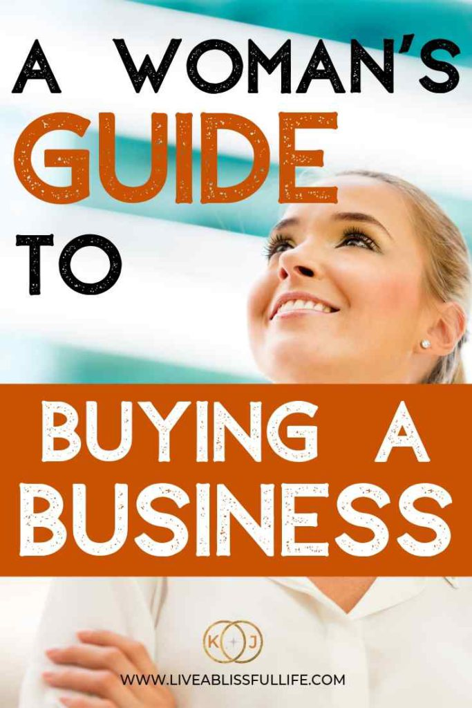 image: businesswoman in white text: a woman's guide to buying a business
