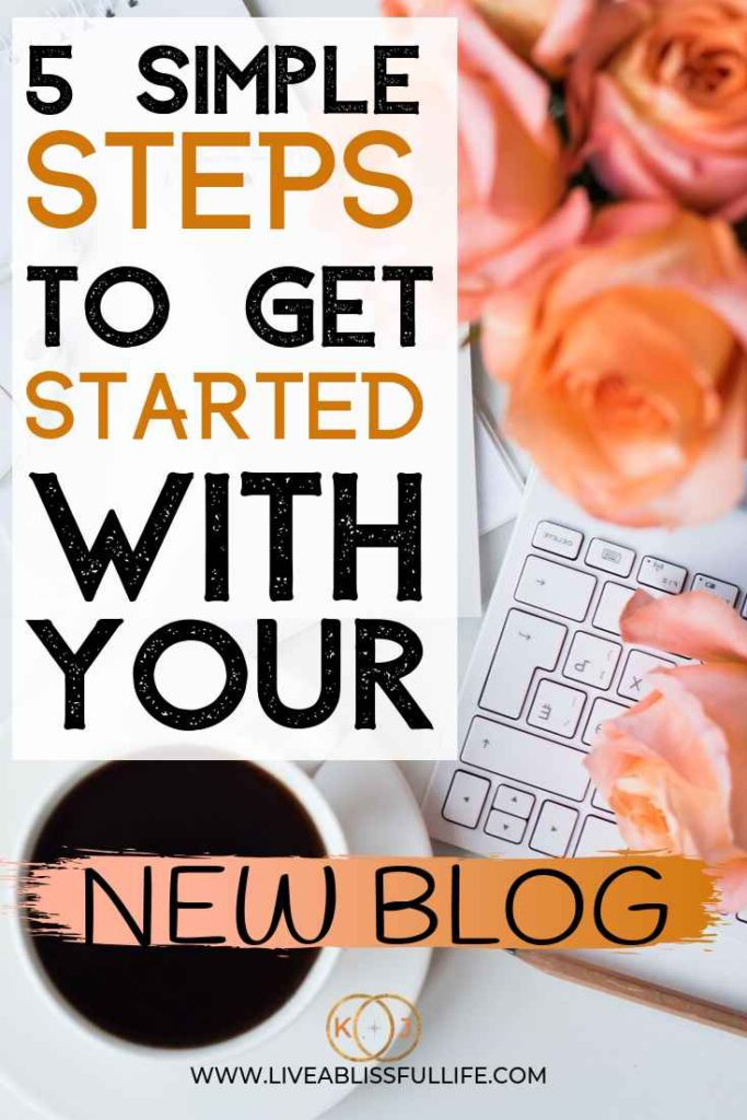 Image: Peach roses with laptop and a cup of coffee Text: 5 Simple Steps To Get Started With Your New Blog
