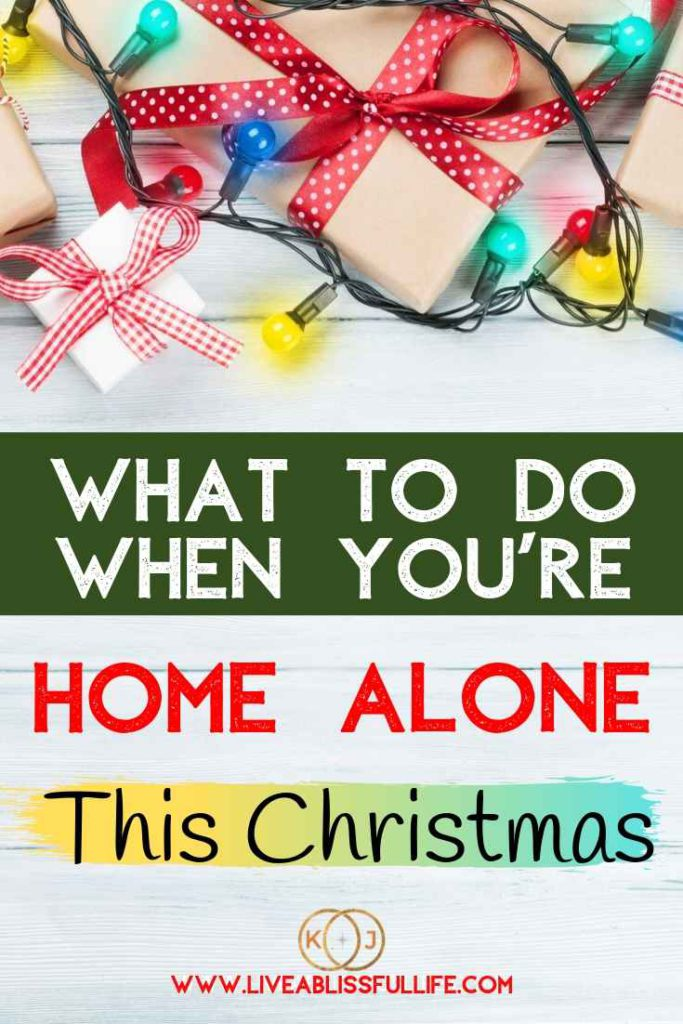 Image: Christmas lights and gifts Text: What To Do When You're Home Alone This Christmas