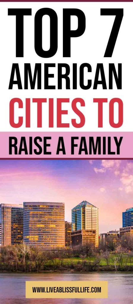 Image: Arlington, VA skyline Text: Top 7 American Cities To Raise A Family