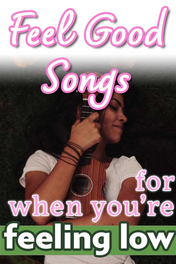 Image: happy woman hugging a ukulele Text: Feel Good Songs for when you're feeling low