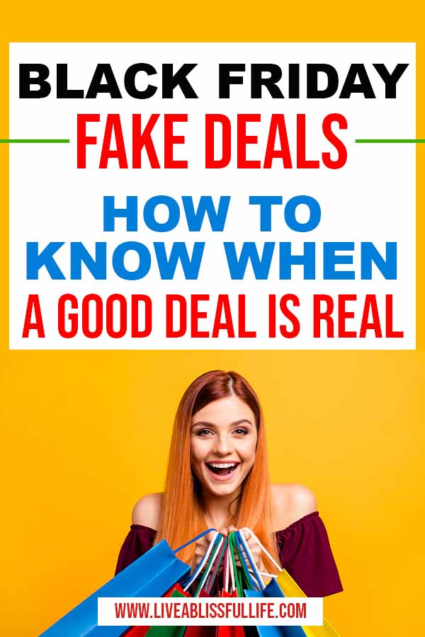 Image: Happy woman holding a lot of shoppings Text: Black Friday Fake Deals - how to know when a good deal is real
