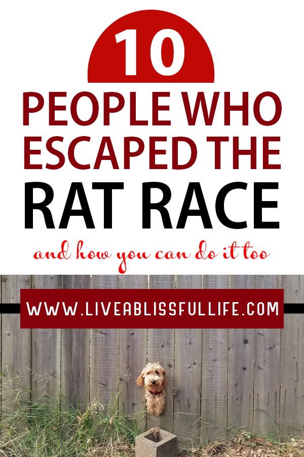 Image: an escaping dog Text: 10 people who escaped the rat race and how you can do it too