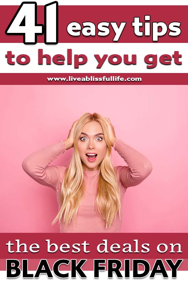 Image: Happily shocked woman in pink Text: 41 easy tips to help you get the best deals on black friday