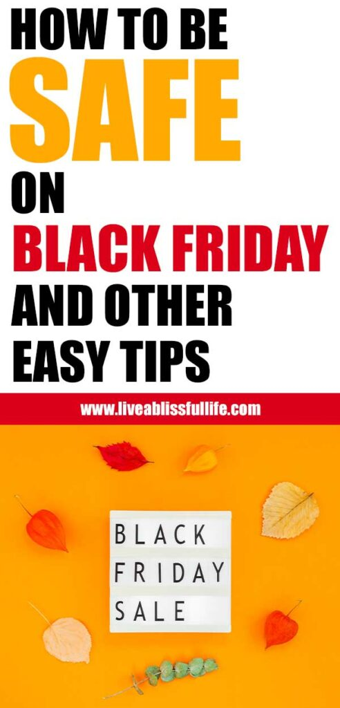 Text: How To Be Safe On Black Friday And Other Easy Tips Image: Black Friday Sale Lightbox and autumn leaves on bright yellow background