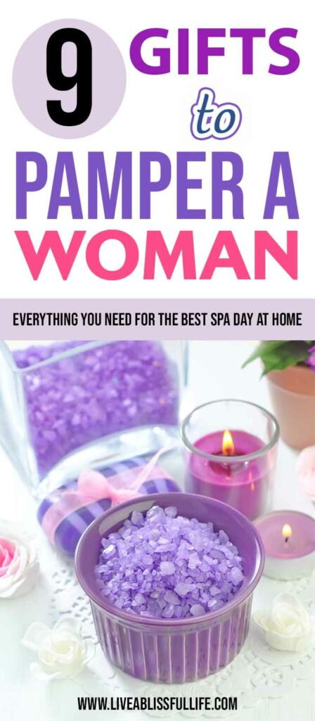 Text: 9 Gifts To Pamper A Woman: Everything You Need For The Best Spa Day At Home Image: lilac sea salt and soap