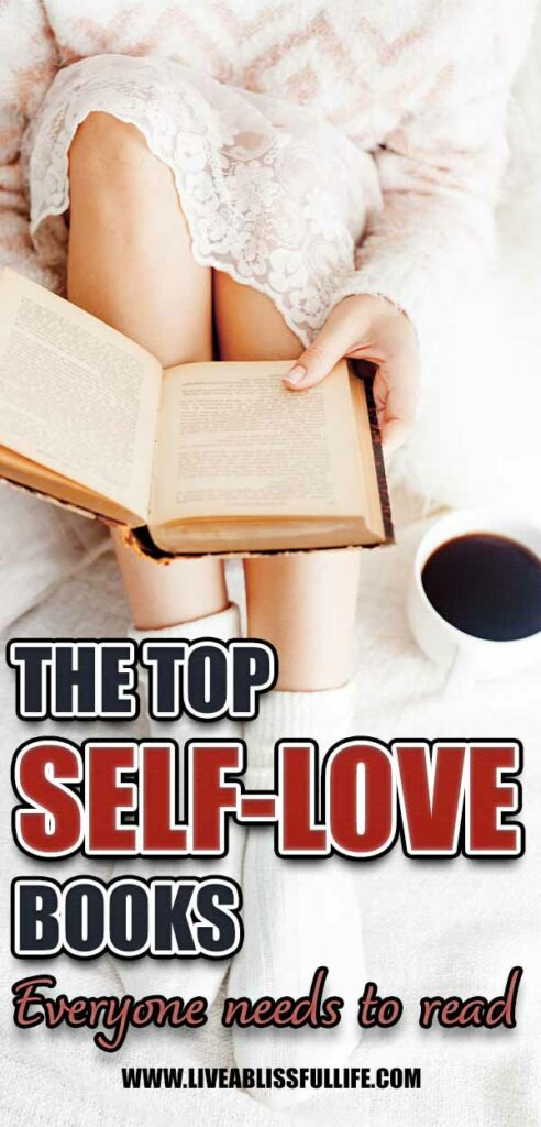 Image: Woman on bed reading a book Text: The Top Self-Love Books Everyone Needs To Read