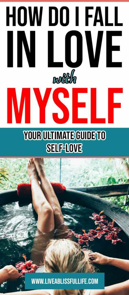 Image: woman bathing Text: How Do I Fall In Love With Myself: Your Ultimate Guide To Self-Love