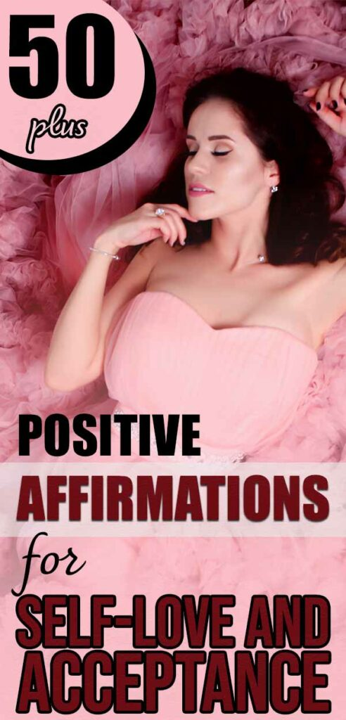 Text: 50 plus positive affirmations for self-love and acceptance Image: Woman in pink gown lying on pink ruffle bed