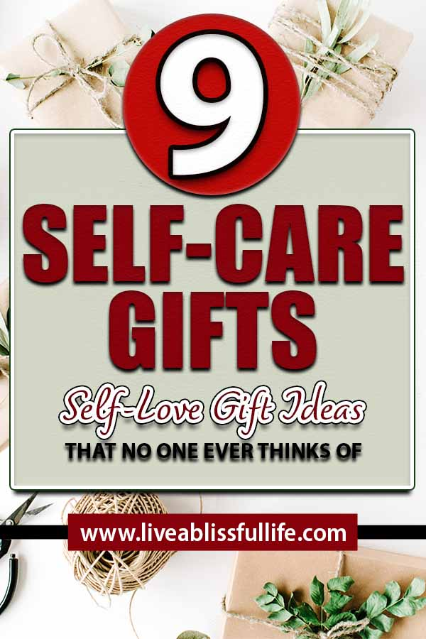 Text: 9 Self-Care Gifts: Self Love Gift Ideas That No One Ever Thinks of Image: gifts wrapped in brown paper and twine