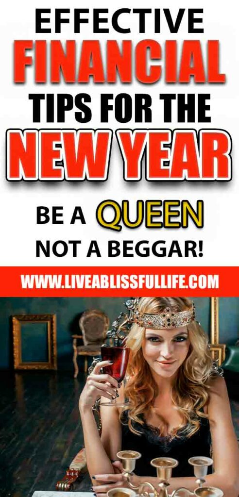 Image: blonde woman wearing a crown Text: Effective Financial Tips For The New Year: Be A Queen, Not A Beggar!