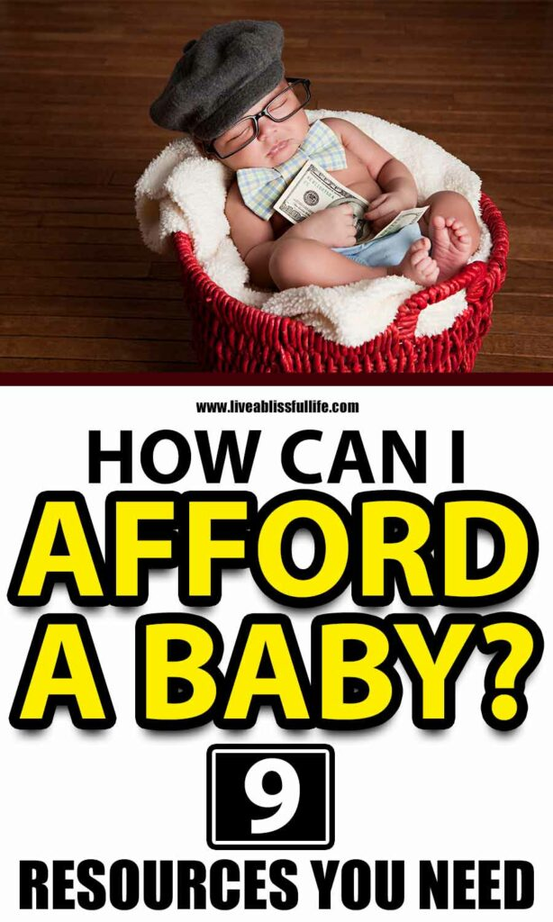 Text: How Can I Afford A Baby? 9 Resources You Need. Image: Sleeping baby on a red basket wearing wire-rimmed glasses and a grey beret and holding a $100 bill