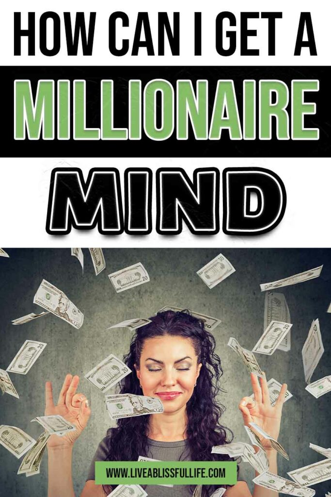 Image: Woman meditating with dollar bills floating everywhere Text: How can I get a millionaire mind