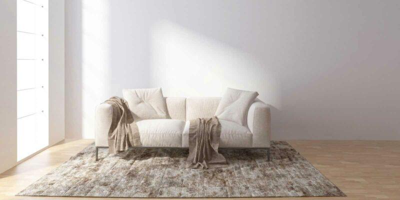 cream sofa in bright light - minimalism decor