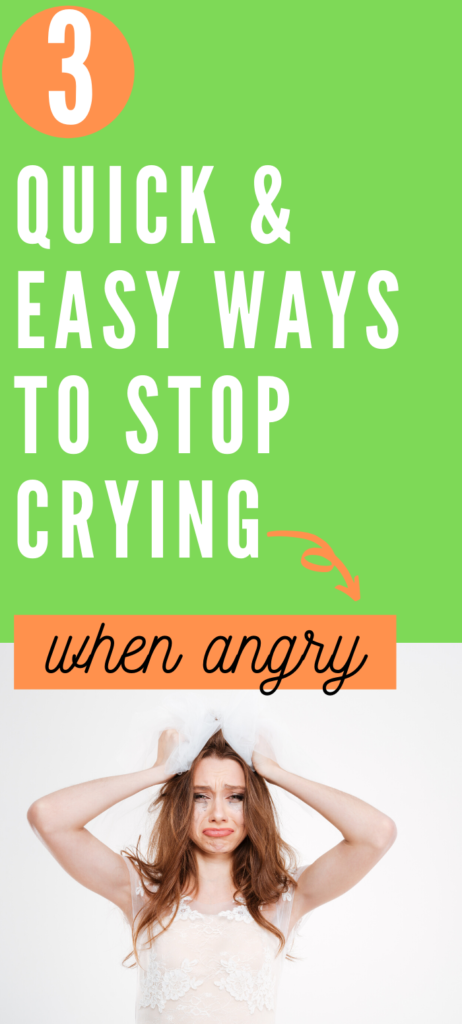 Text: 3 quick and easy ways to stop crying when angry. Image: Crying woman in white with her hands on her hair