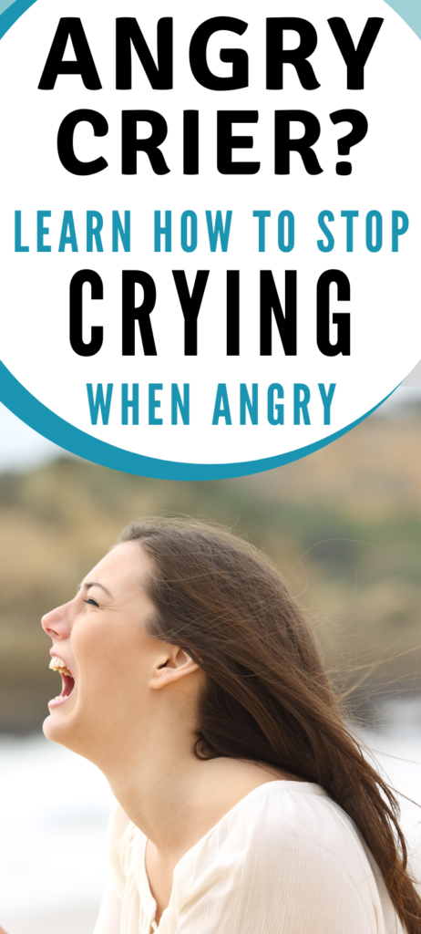 Text: Angry crier? Learn how to stop Crying when angry. Image: Crying woman in white with mouth open in an angry scream.
